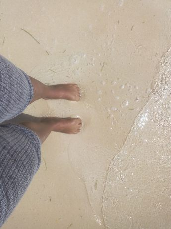 I was too sick to go swimming, but I was sure to get my feet wet.